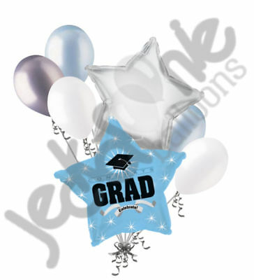 7 pc Light Blue Congratulations Grad Balloon Bouquet Party Decoration Graduation (Congratulations Balloons)