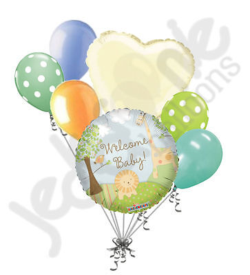 Welcome Home Baby Shower (7 pc Welcome New Baby Jungle Animals Balloon Bouquet Baby Shower Boy Safari)