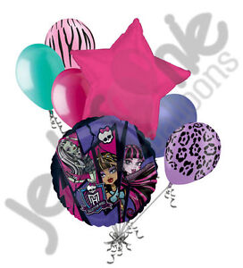 7 pc Monster High Balloon Bouquet Party Decoration Happy Birthday Group