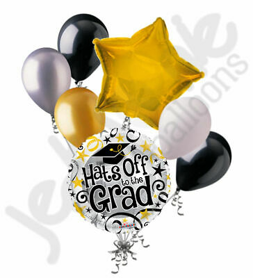 7 pc Hats off to Grad Balloon Bouquet Party Congratulations Congrats Graduation](Congratulations Balloons)