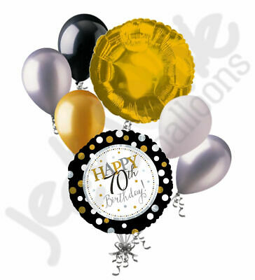 7pc 70th Silver & Gold Happy Birthday Polka Dot Balloon Bouquet Party Decoration - Happy 70th Birthday Decorations