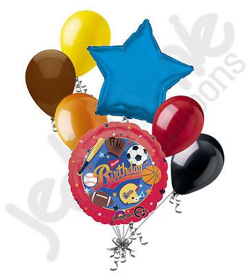 7 pc Happy Birthday Sports Balloon Bouquet Party Decoration Football Baseball