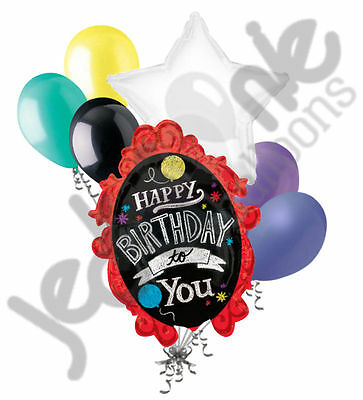 7 pc Chalk Board Frame Happy Birthday Balloon Bouquet Party Decoration Circus](Chalkboard Happy Birthday)