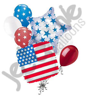 7 pc Patriotic American Flag Square Balloon Bouquet USA 4th July Veterans Day - Veterans Day Flag