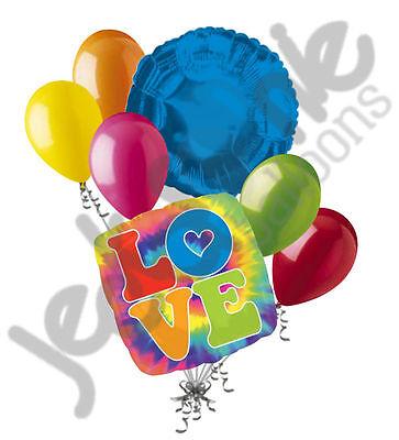 7 pc 60's Feeling Groovy Happy Birthday Balloon Bouquet Party Decoration Tye Dye](Tye Dye Balloons)