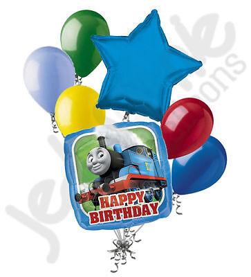 7 pc Thomas the Train Happy Birthday Balloon Bouquet Party Decoration PBS Tank (Thomas The Train Balloons)