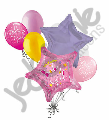 7 pc Welcome Baby Girl Stars Balloon Bouquet Party Decoration Shower Home](Welcome Baby Girl)