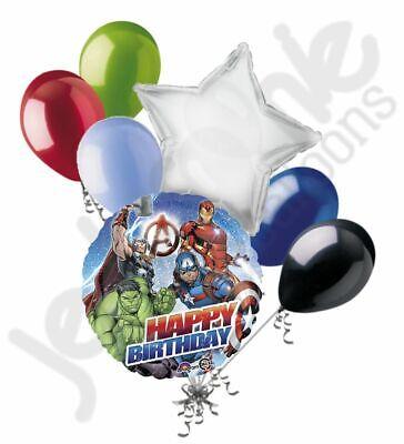 7 pc Avengers Happy Birthday Balloon Bouquet Party Decoration Hero Marvel Iron - Happy Birthday Avengers