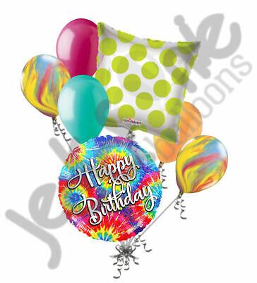 7 pc Tie Dye Happy Birthday Balloon Bouquet Hippie 60's 70's Sprial Disco Decor (Tie Dye Balloons)