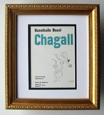 "WOW CHAGALL Antique Kunsthalle Exhibition Poster ""The Painter ""FRAMED Signed COA"