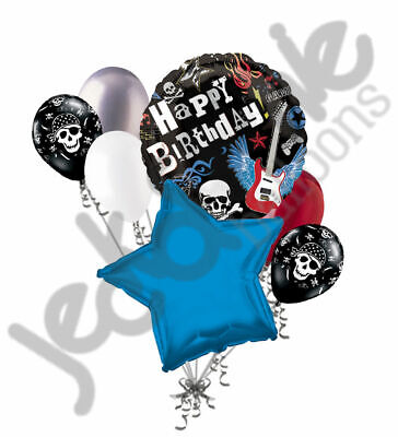 Happy Birthday Skulls (7 pc Rock Party Happy Birthday Balloon Bouquet Rocker Skulls Guitar Flame)