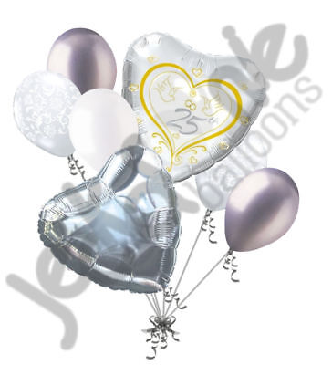 7 pc Happy 25th Anniversary Balloon Bouquet Decoration Party Married