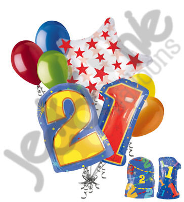 8 pc 21st Birthday Theme Balloon Bouquet Party Decoration Number Primary - 21st Birthday Theme