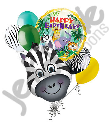 7 pc Zany Zebra Happy Birthday Balloon Bouquet Decoration Safari Jungle Animal