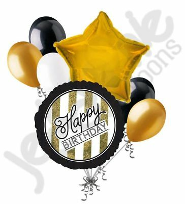 7pc Happy Birthday Black & Gold Elegant Stripes Balloon Bouquet Party - Happy Birthday Gold