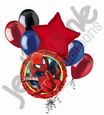 7 pc Ultimate Spider-man Balloon Bouquet Party Decoration Happy Birthday Super