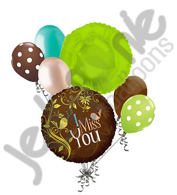 7 pc Birds Singing I Miss You Balloon Bouquet Party Decoration Brown Lime Peach