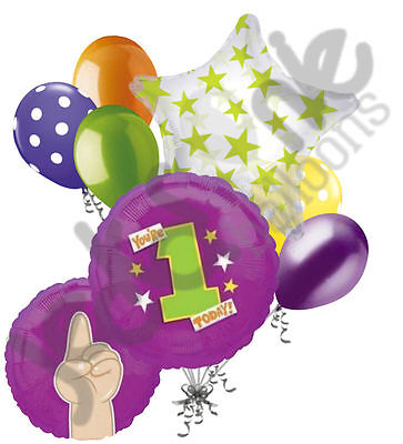 7 pc You're 1 Today Fingers Balloon Bouquet Party Decoration Bright 1st - Todays Birthday