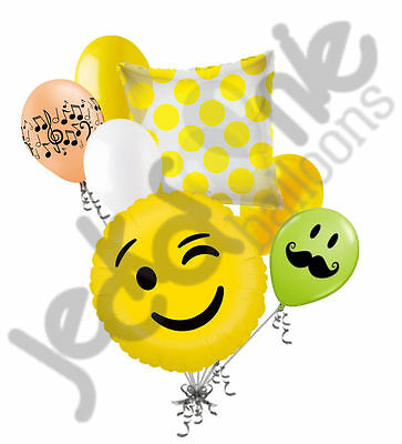 7 pc Emoji Wink Balloon Bouquet Party Decoration Smiley Happy Birthday Jokes](Emoji Wink)