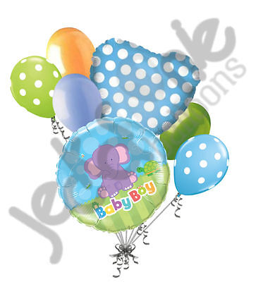 7 pc It's a Boy Elephant Baby Shower Balloon Bouquet Party Decoration Jungle](Elephant Balloons)