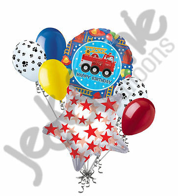 7pc Fire Engine Fun Happy Birthday Balloon Bouquet Party Decoration Truck Fighte - Fire Engine Party
