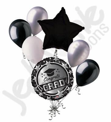 7 pc Black & Silver Stars Congratulations Grad Balloon Bouquet Graduation White](Congratulations Balloons)