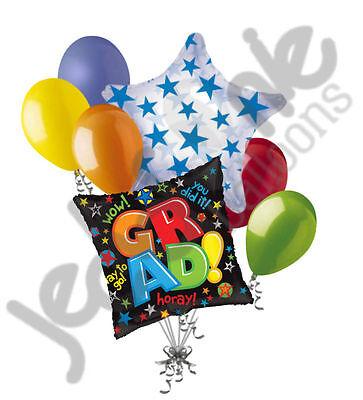 7 pc Hooray for Grad Balloon Bouquet Happy Graduation Congratulations Colorful](Congratulations Balloons)