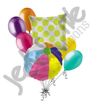 7 pc Beach Ball Balloon Bouquet Party Decoration Gift Happy Birthday Luau