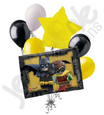 7 pc Lego Batman Balloon Bouquet Party Decoration Happy Birthday Super Hero