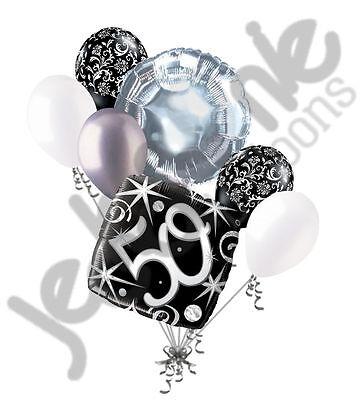 7 pc 50th Elegant Happy Birthday Sparkles Balloon Bouquet Black Damask Silver