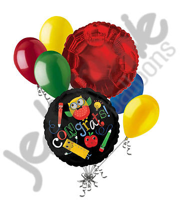 7 pc Hip Hip Hooray Owl Congratulations Balloon Bouquet Happy Graduation (Grad Owl)