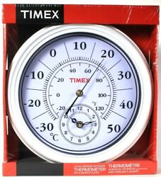 Timex Jumbo Indoor & Outdoor Thermometer With Quartz Clock 11 1/6 In Diameter