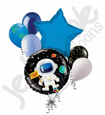 Birthday Star Balloon (7 pc Outer Space Astronaut Happy Birthday Balloon Bouquet Party Decoration Star )