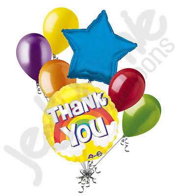7pc Thank You Bright Rainbow Balloon Bouquet Appreciation Teacher Boss Assistant - Thank You Balloon