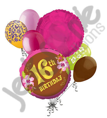 7 pc Aloha Sweet 16 Happy Birthday Balloon Bouquet 16th Luau Hot Pink Brown Lime