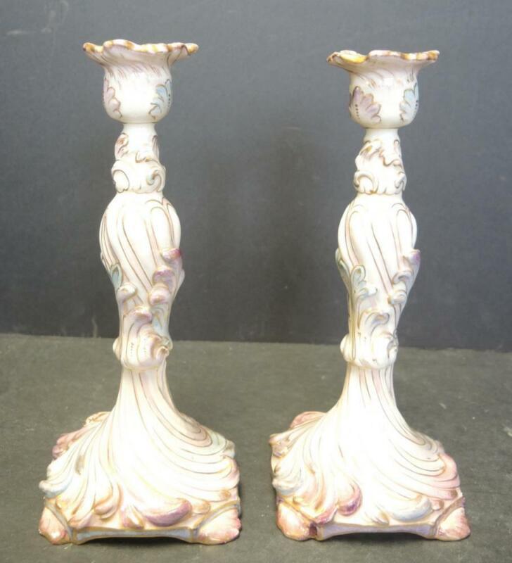 "Elegant French Majolica 9 1/2"" Tall Candlesticks"