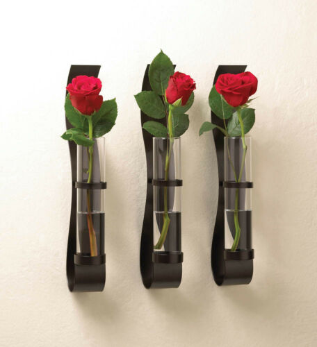 "BILLOW WALL VASE TRIO - 14"" HIGH - IRON & GLASS - BLACK"