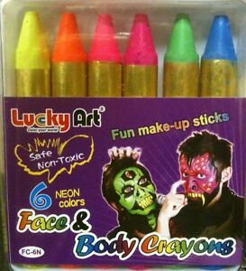 UV Neon Face paint make up sticks crayon Halloween Glow in the dark ultra violet