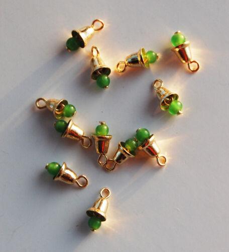 VINTAGE 12 TINY SMALL BRASS METAL BELLS *GREEN BEAD • 10mm 3/8th inch tall