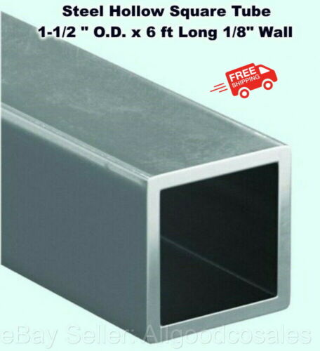 """Steel Hollow Square Tube 1-1/2 """" O.D. x 6 ft Long 1/8"""" Wall Carbon 1015 Alloy"""