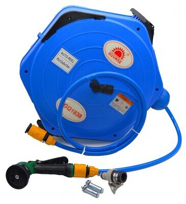 Wall Mounted Garden Hose Reel 15m/49ft Pipe 8 Setting Shower Reducer 180d Rotate