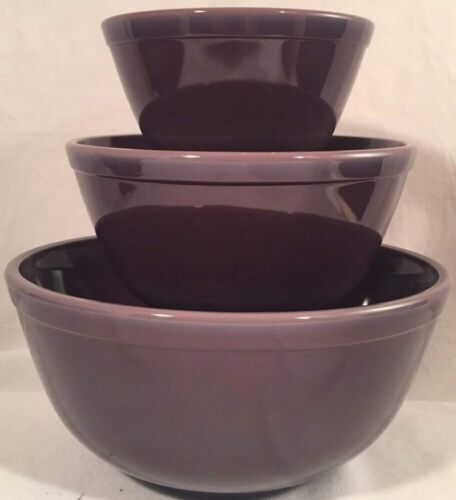 Mixing Nesting Bowls Set 3 Stackable - Eggplant Purple Glass - Mosser USA