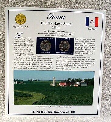 2004 IOWA - STATEHOOD QUARTER - POSTAL COMMEMORATIVE SOCIETY  P & D MINT
