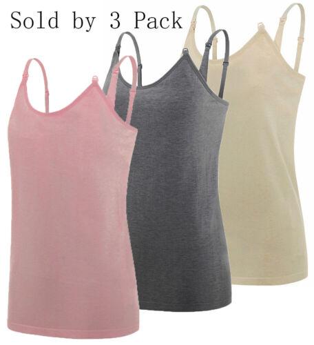 3-Pack Nursing Cami Tank Tops with Built-In Maternity Bra Breastfeeding Shirt