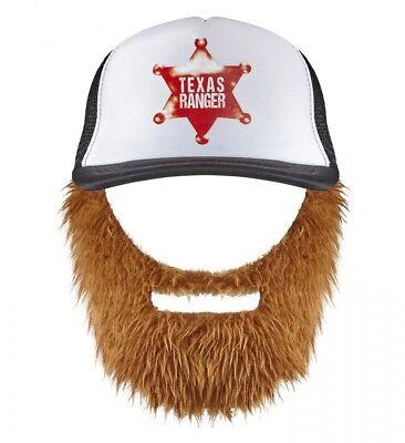 Chuck Norris Texas Ranger Basecap mit Bart Cap Mütze Hut Holzfäller Kappe