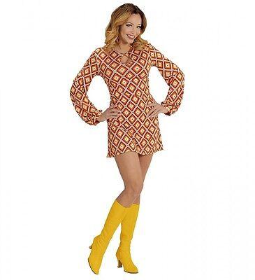 70er Jahre Retro KLEID mit Rhombus-Muster Orange Disco Damen Kostüm Siebziger