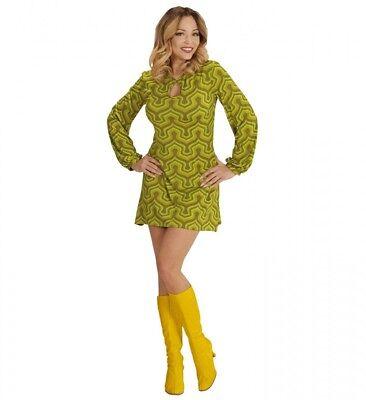 70er Jahre Retro KLEID mit Tapetenmuster Grün Disco Damen Kostüm Siebziger 70s