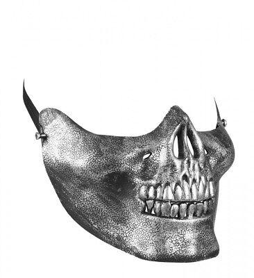 Silber Skull Schädel Skelett Geist Gevatter Tod Halloween (Halbe Totenkopf Maske Halloween)