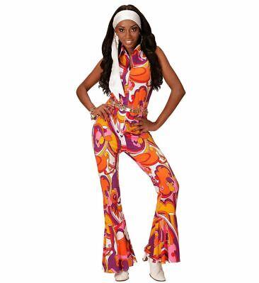 70er Jahre Damen Retro JUMPSUIT mit Orchideen-Muster Disco-Queen Overall - 70's Disco Kostüm Muster