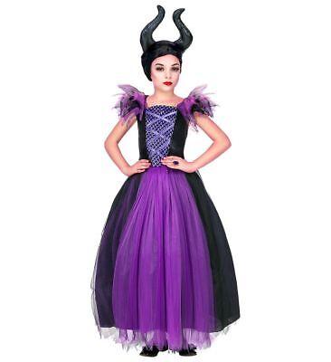 Mädchen Kostüm Maleficent Kleid Kopfschmuck Kinder Böse Fee Stiefmutter Königin ()